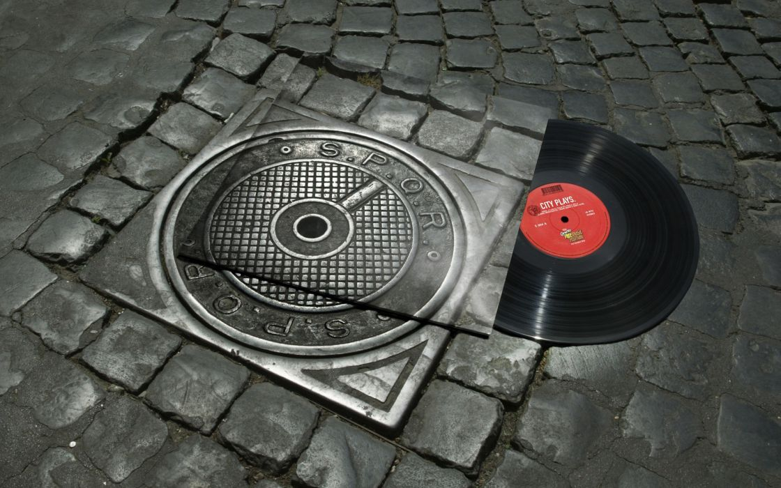 Music vinyl rome asphalt disc spqr wallpaper