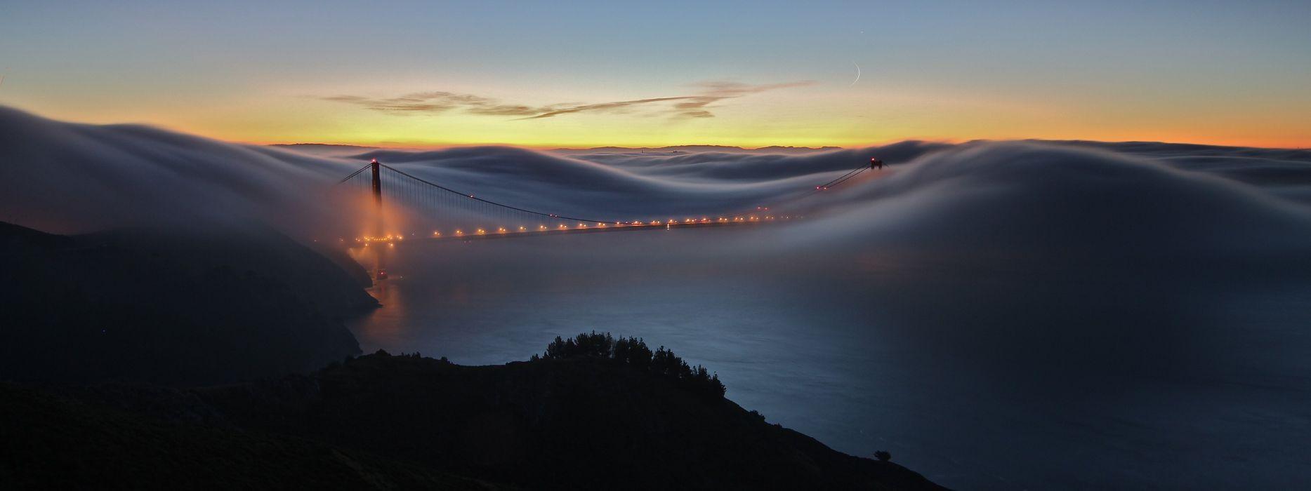 Sunset landscapes nature waves fog golden gate bridge multiscreen suspension bridge wallpaper