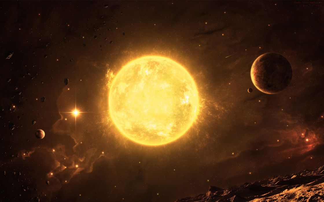 Sun outer space stars planets inferno asteroids wallpaper