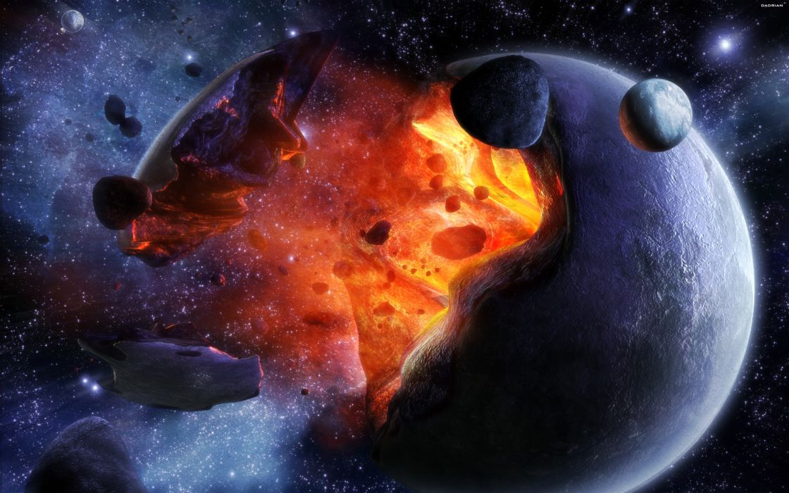 Outer space stars planets moon crash wallpaper