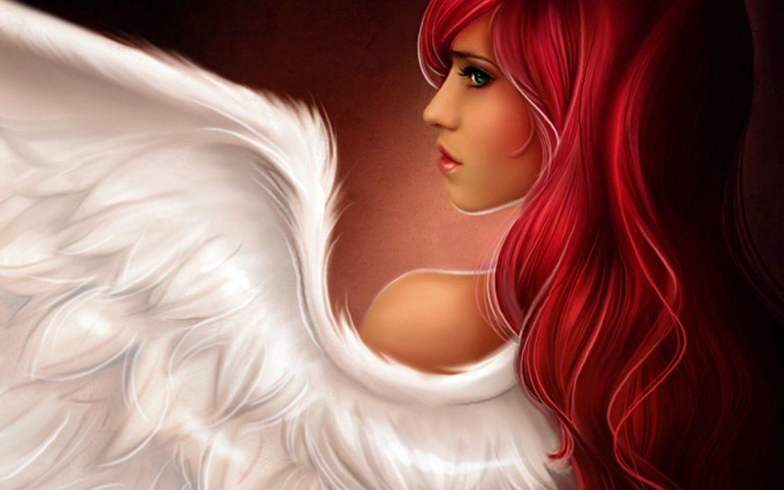 Angels women redheads artwork wallpaper