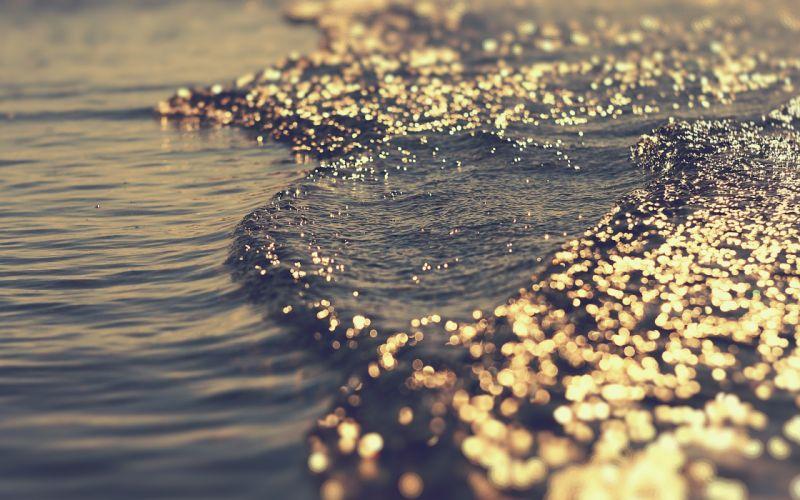 Light water sea waves the game bokeh glare tide wallpaper