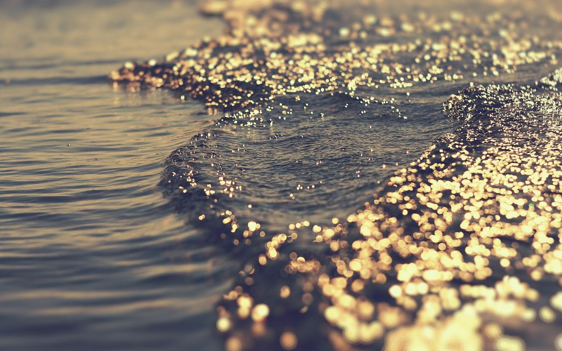 Light water sea waves the game bokeh glare tide wallpaper