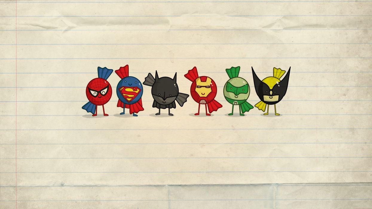Cartoons green lantern paintings batman paper minimalistic iron man spider-man superman wolverine superheroes artwork wallpaper