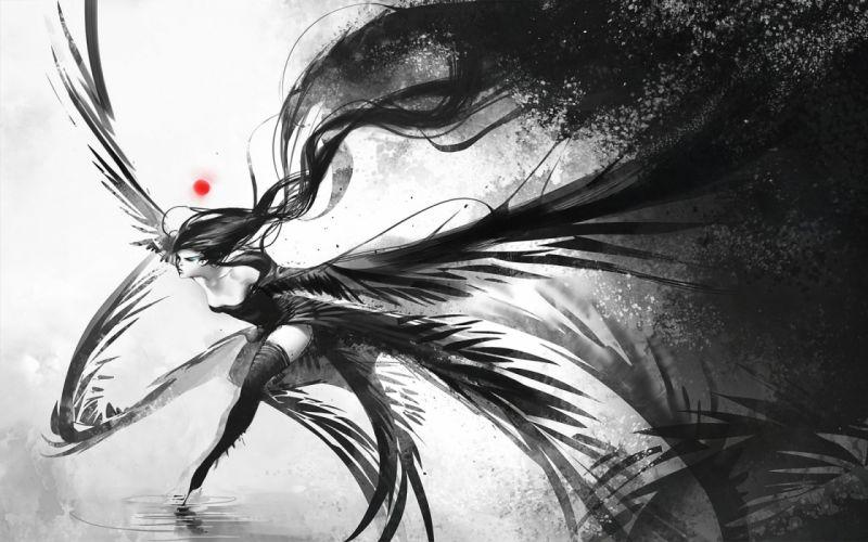 Women water wings black dress white long hair fantasy art thigh highs monochrome black dress running black hair wallpaper
