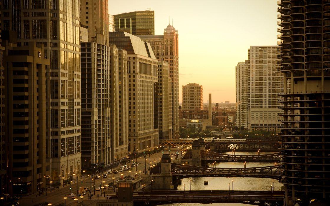 Cityscapes chicago architecture bridges urban buildings cities wallpaper