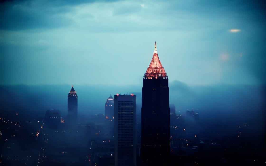 Sunrise cityscapes fog buildings atlanta morning cities wallpaper