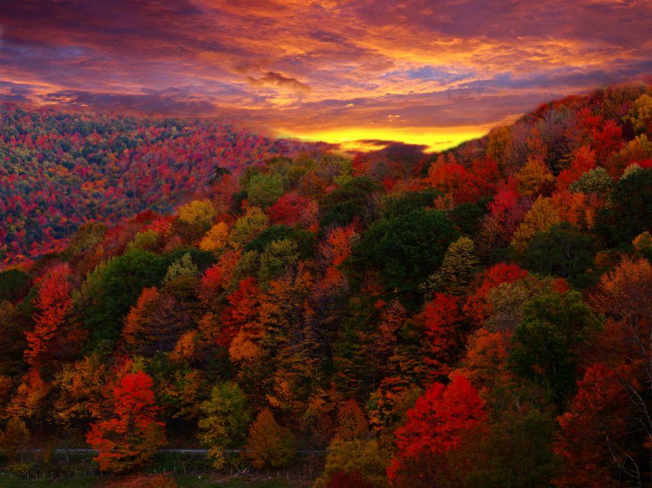 Sunset mountains trees autumn wallpaper
