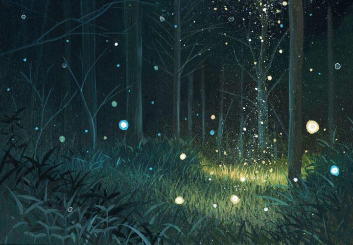 Green nature trees forest grass plants magic orbs wallpaper