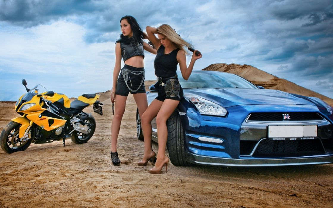 Women cars bmw s1000rr nissan gt-r r35 wallpaper