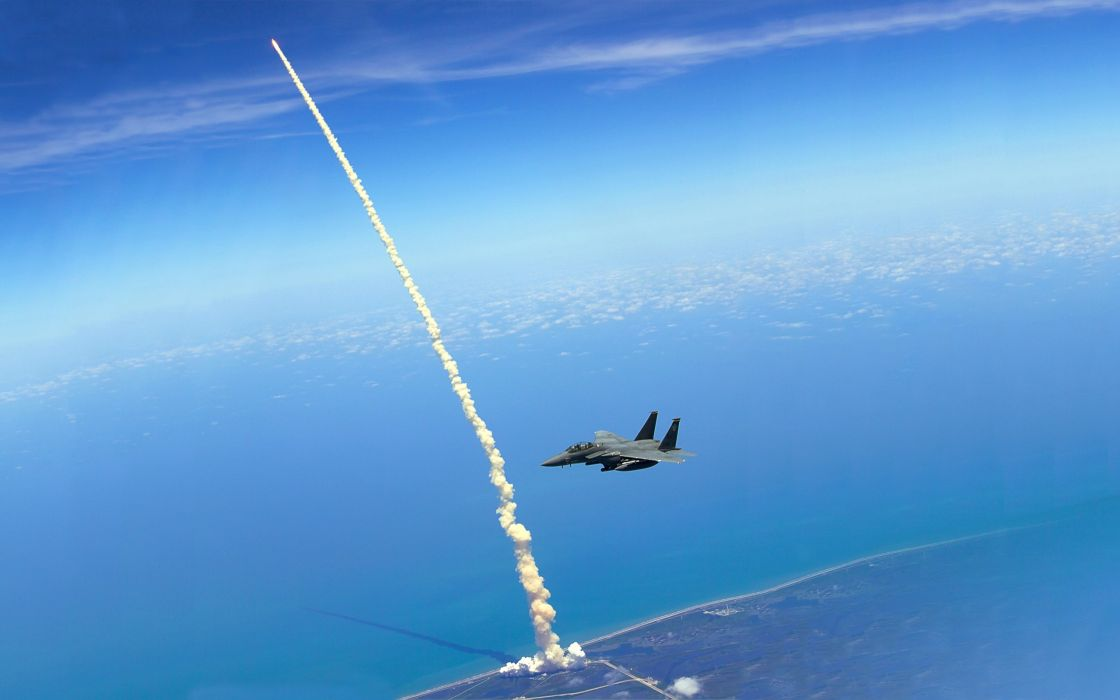 Blue outer space military nasa eagles f-15 eagle jet aircraft strike eagle wallpaper