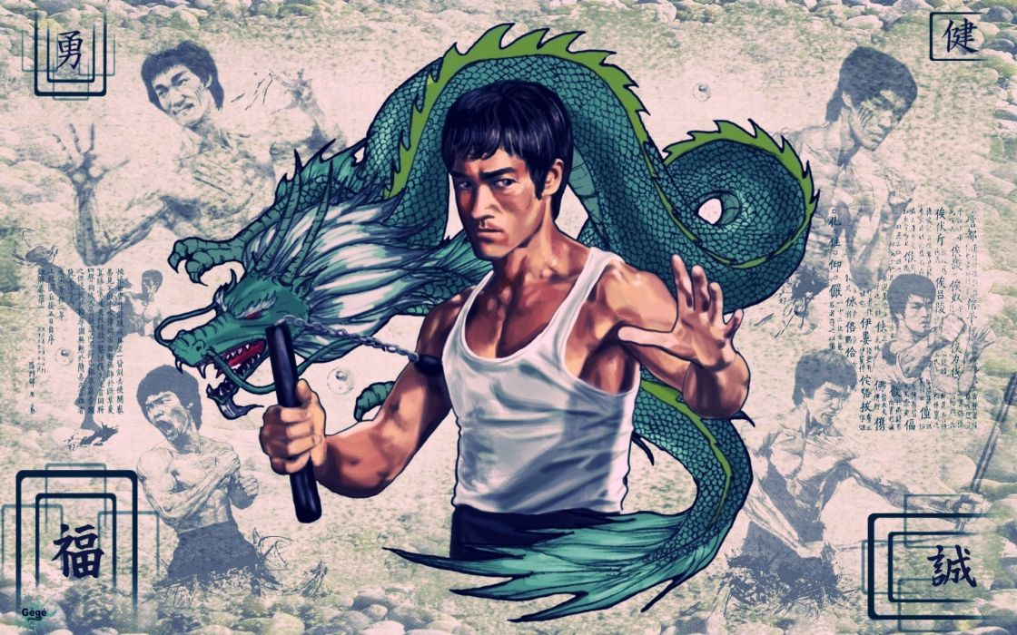 Bruce lee dragons vintage poster chinese wallpaper