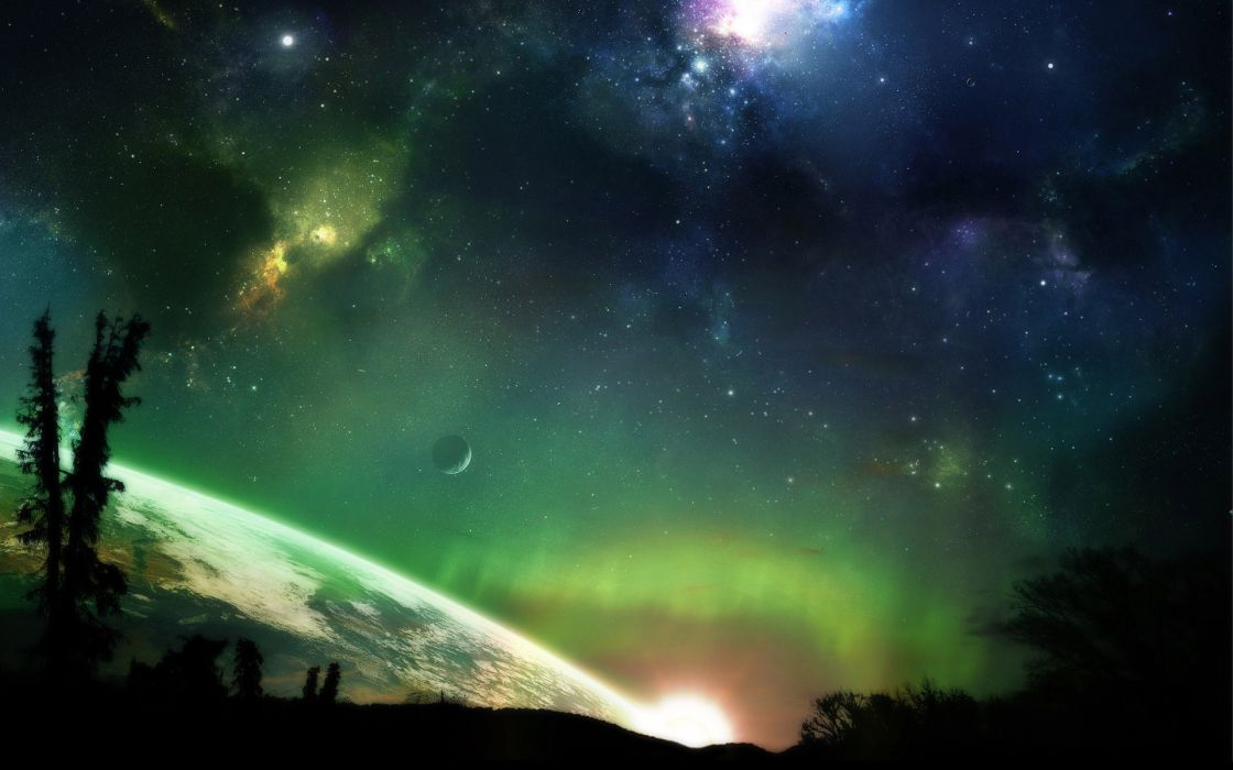 Green outer space horizon trees stars planets earth atmosphere science fiction moons wallpaper