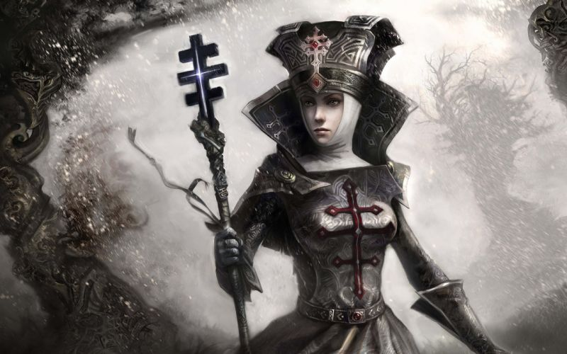 Women cgi fantasy art priestess wallpaper