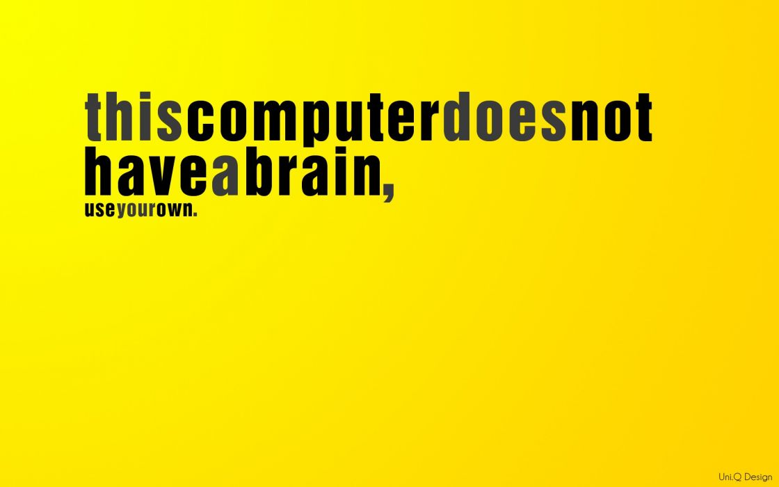 Computers yellow text funny brain think different uni wallpaper