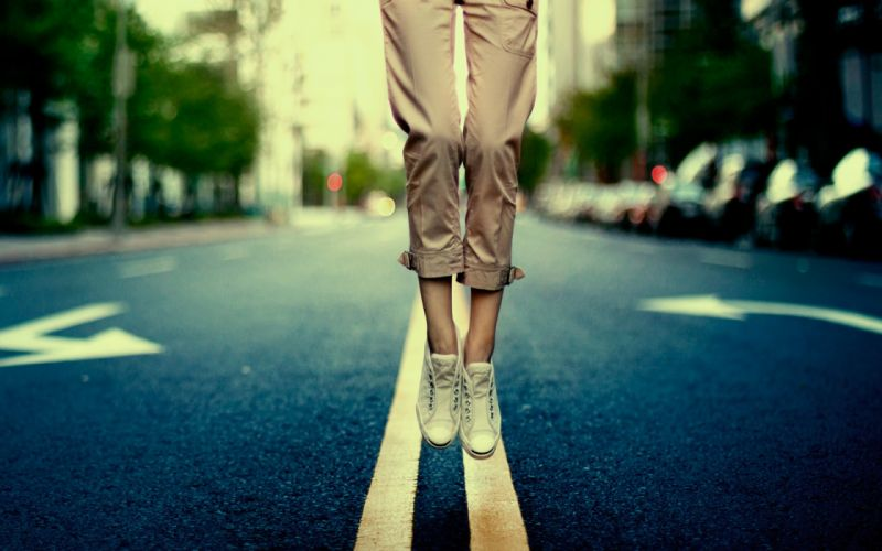 Streets jumping fly shoes roads happiness sneakers wallpaper