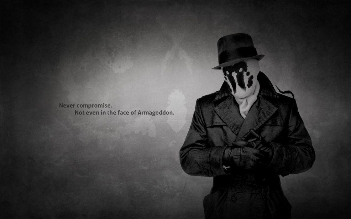 Watchmen text quotes rorschach monochrome hats wallpaper