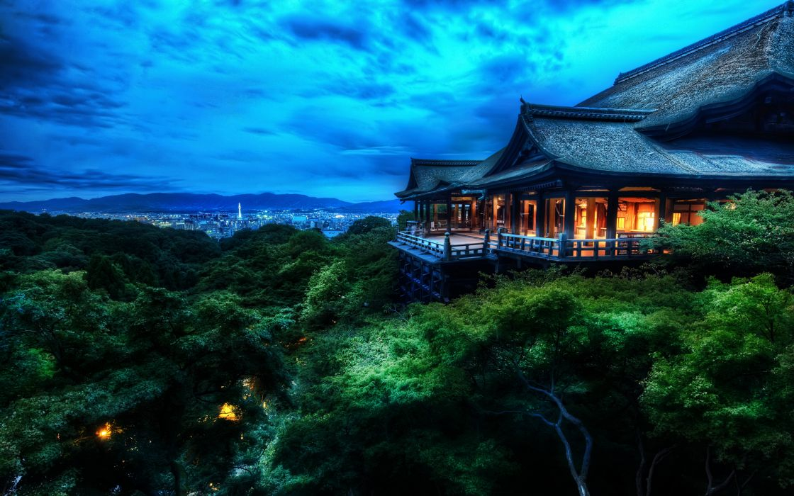 Clouds cityscapes night architecture buildings kyoto city lights kiyomizu-dera wallpaper