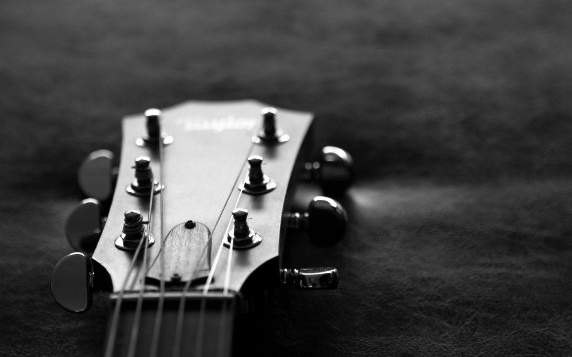 Music acoustic guitars monochrome wallpaper