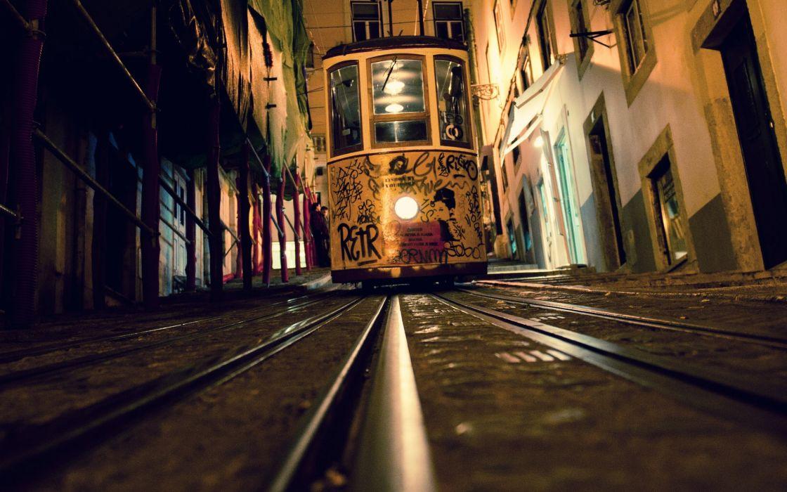 Tram railroad tracks elevators lisbon wallpaper