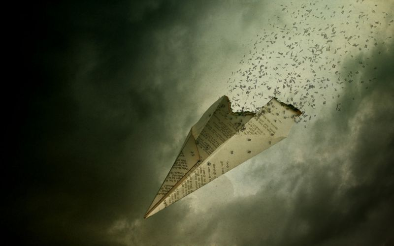 Fly away letters paper plane wallpaper