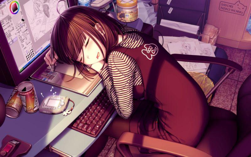 Keyboards sleeping screen anime girls wallpaper