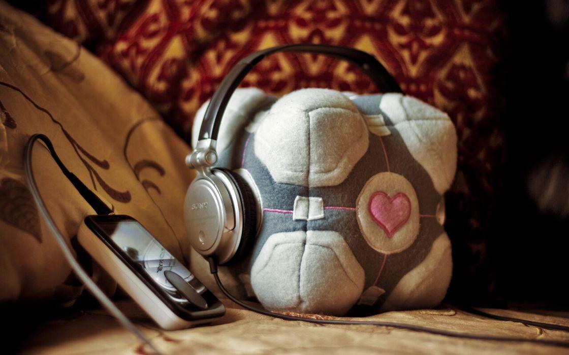 Headphones portal music companion cube wallpaper