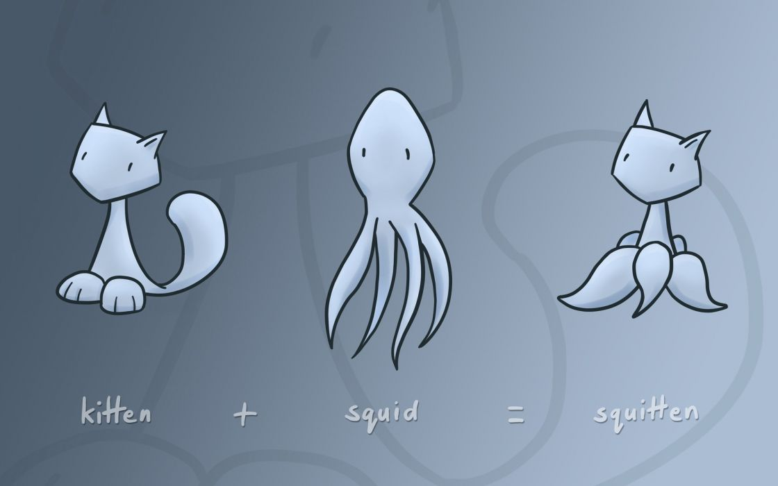 Funny squid kittens wallpaper