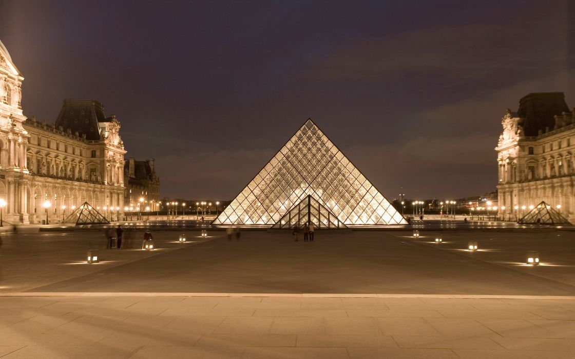 Paris night architecture france louvre museum wallpaper