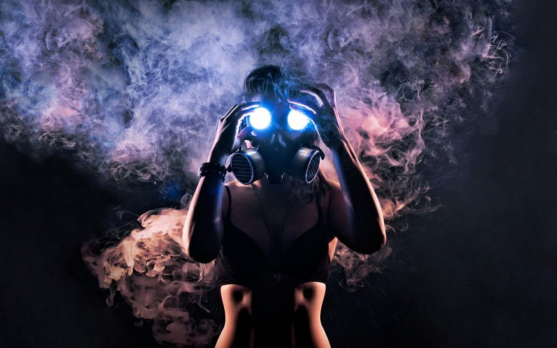 Women smoke bra cleavage gas masks bracelets wallpaper