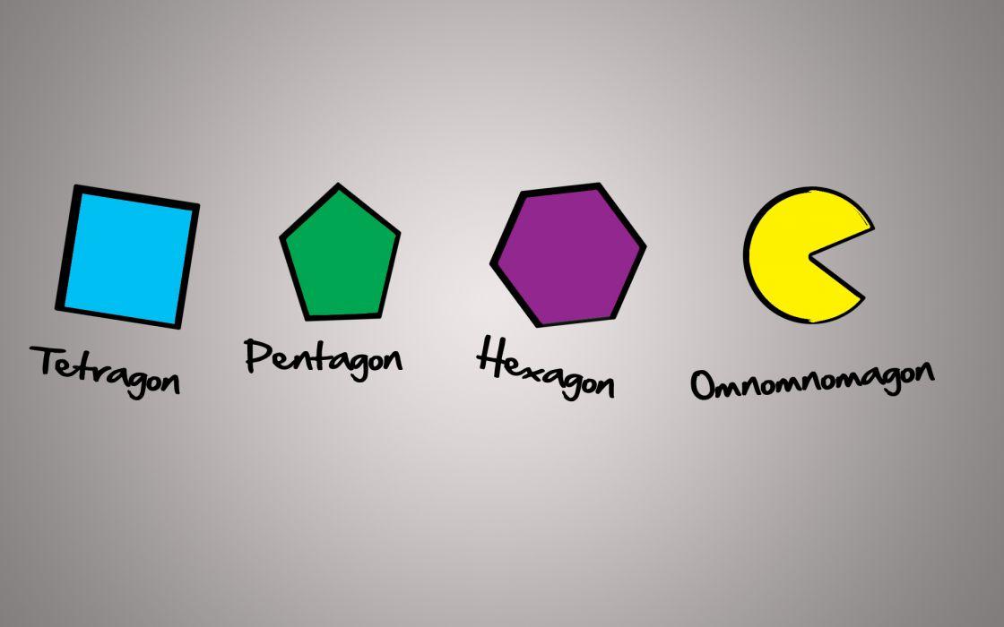 Light video games minimalistic funny shapes pentagon pac-man wallpaper