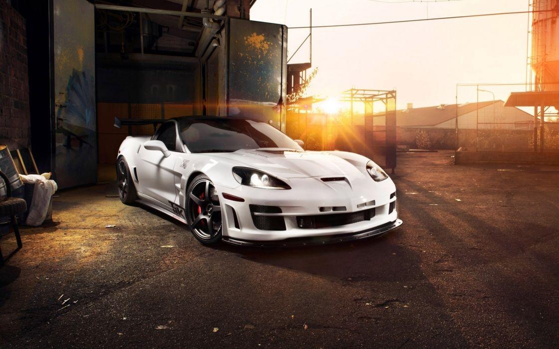 White cars supercars chevrolet corvette wallpaper