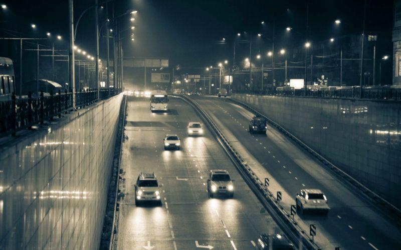 Cityscapes cars traffic nightlights underpass wallpaper