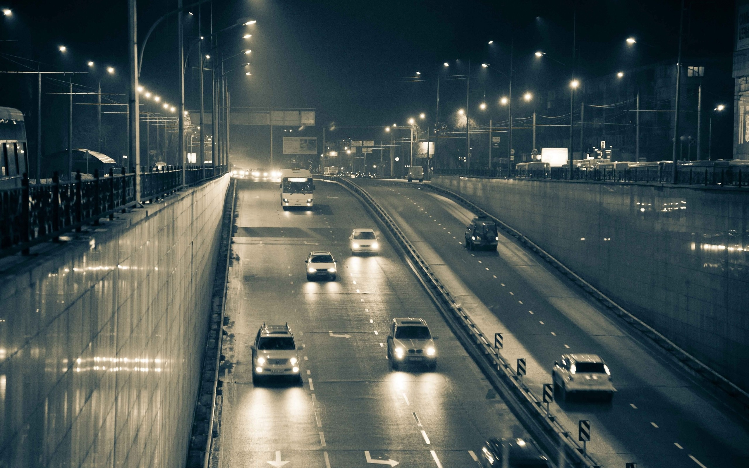 Cityscapes cars traffic nightlights underpass wallpaper | 2560x1600 | 9167 | WallpaperUP