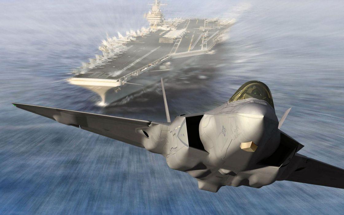 Aircraft army boats f-22 raptor aircraft carriers battlefield 3 speed wallpaper