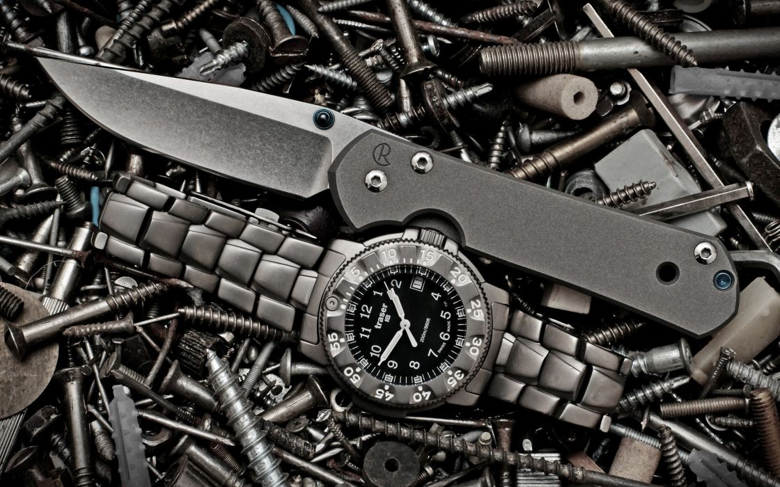Green weapons knives screw watch wallpaper