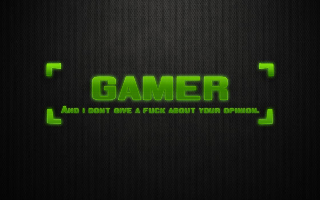 Green text gamers wallpaper