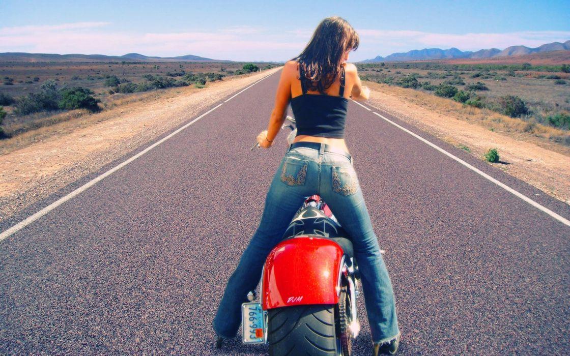 Women jeans roads motorbikes wallpaper