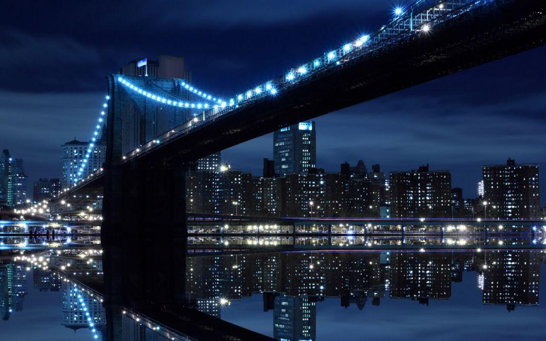 Night bridges brooklyn bridge new york city intel rivers cities wallpaper