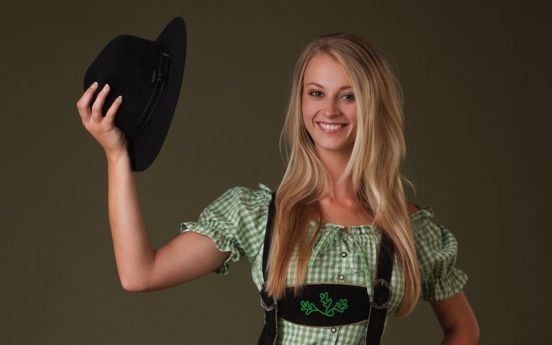 Blondes women models femjoy magazine smiling natural boobs carisha lederhosen wallpaper
