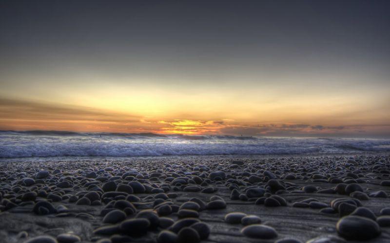 Landscapes beach stones wallpaper