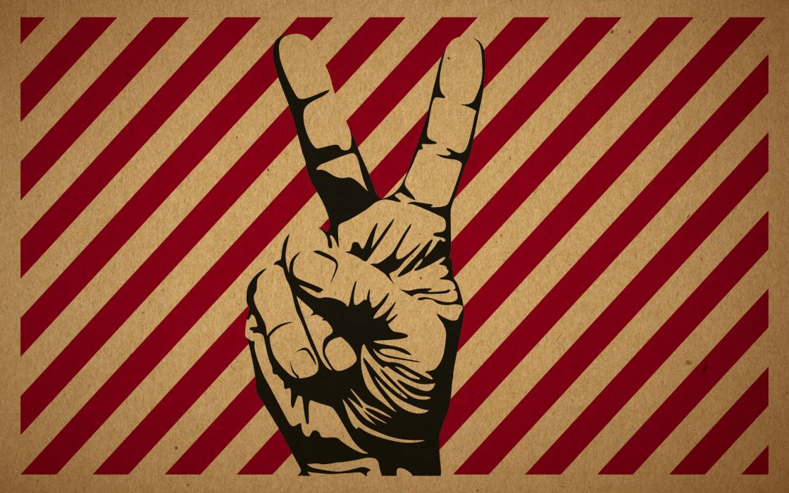 Hands peace artwork victory v sign wallpaper