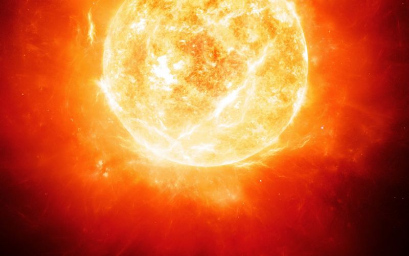 Light sun outer space red stars planets energy wallpaper
