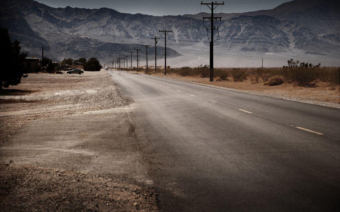 Mountains landscapes roads power lines wallpaper