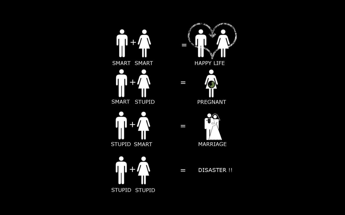 Women minimalistic men funny smart black background marriage wallpaper