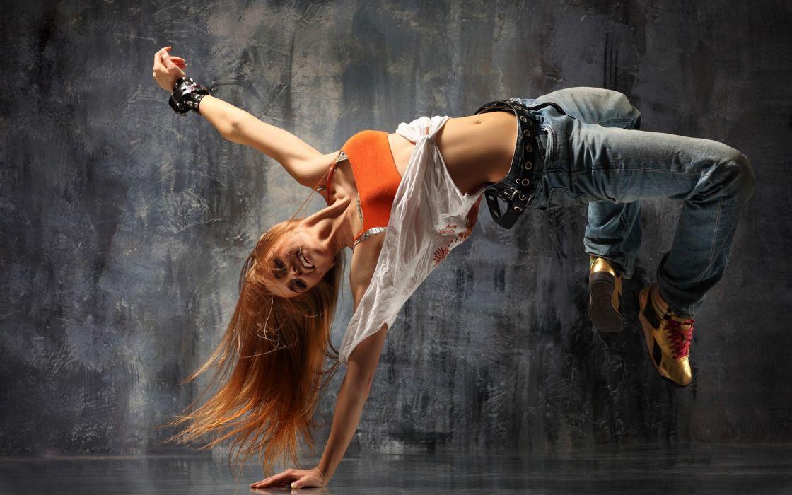 Women redheads dance digital art artwork breakdancing wallpaper