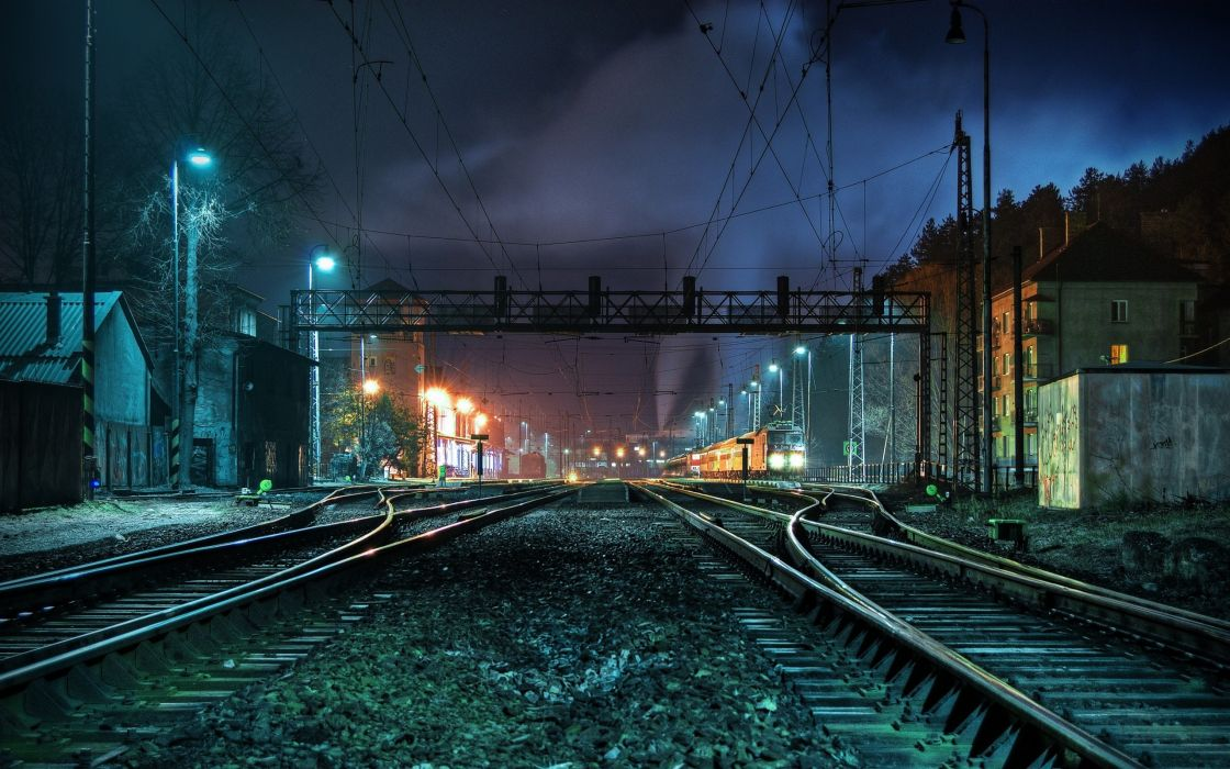 Night lights trains railroad tracks vehicles railroads wallpaper