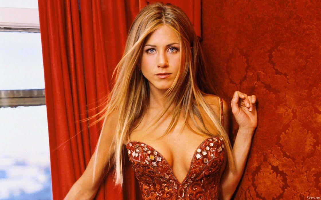 Blondes women dress cleavage jennifer aniston celebrity wallpaper