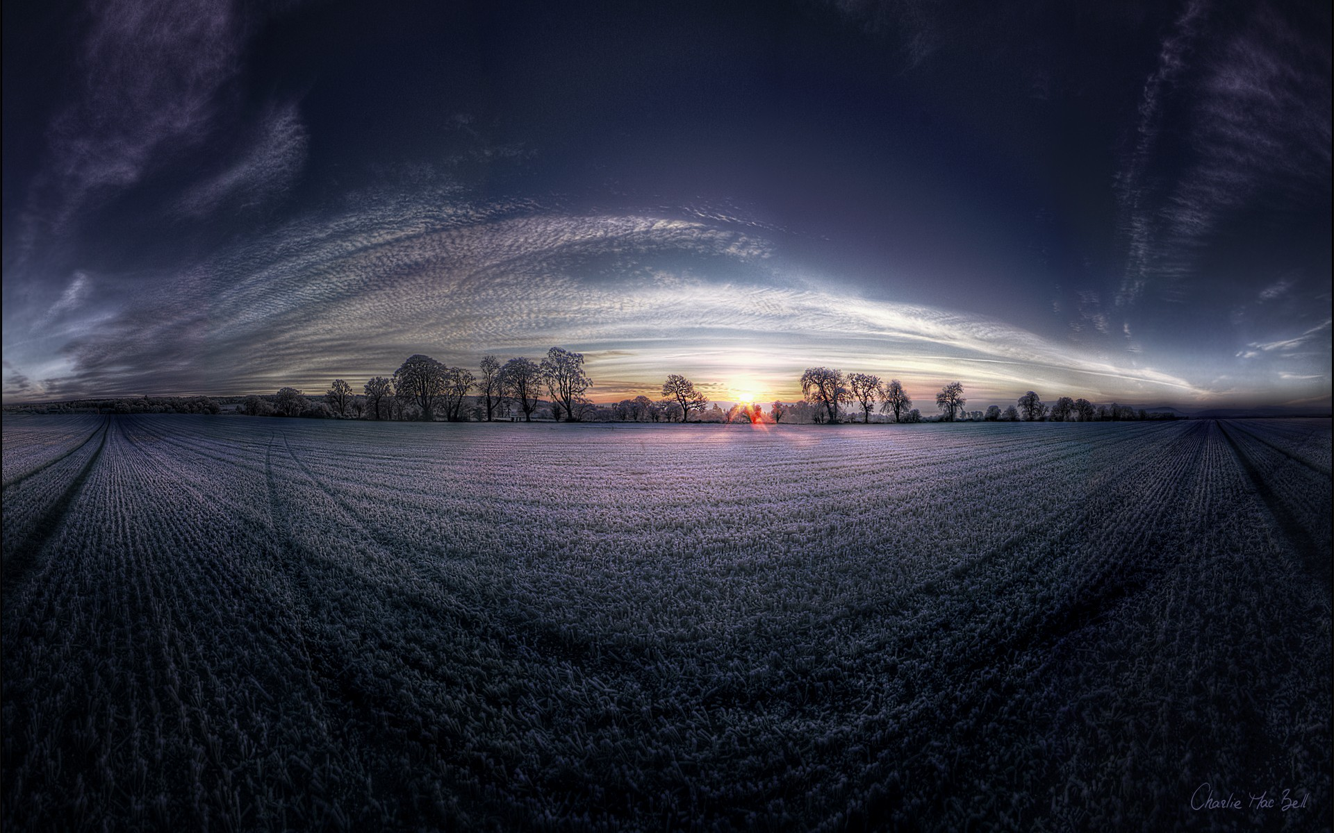 Landscapes nature dawn fields panorama fisheye effect for Fish eye effect