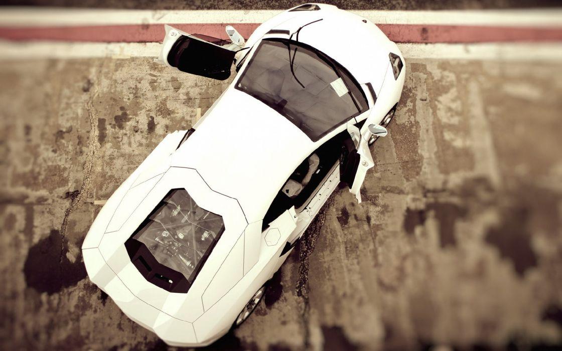 White cars lamborghini blur tilt-shift effects lamborghini aventador wallpaper